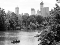 Paddling the Reservoir at Central Park beneath the Skyline of Midtown Manhattan